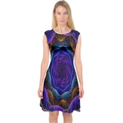 Flowers Dive Neon Light Patterns Capsleeve Midi Dress