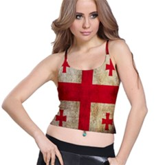 Georgia Flag Mud Texture Pattern Symbol Surface Spaghetti Strap Bra Top