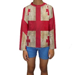 Georgia Flag Mud Texture Pattern Symbol Surface Kids  Long Sleeve Swimwear