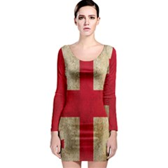 Georgia Flag Mud Texture Pattern Symbol Surface Long Sleeve Bodycon Dress