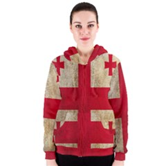 Georgia Flag Mud Texture Pattern Symbol Surface Women s Zipper Hoodie