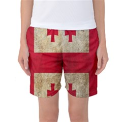 Georgia Flag Mud Texture Pattern Symbol Surface Women s Basketball Shorts