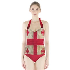 Georgia Flag Mud Texture Pattern Symbol Surface Halter Swimsuit