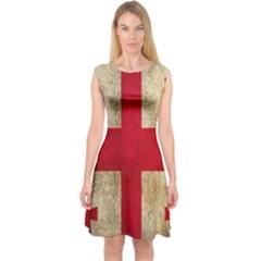 Georgia Flag Mud Texture Pattern Symbol Surface Capsleeve Midi Dress