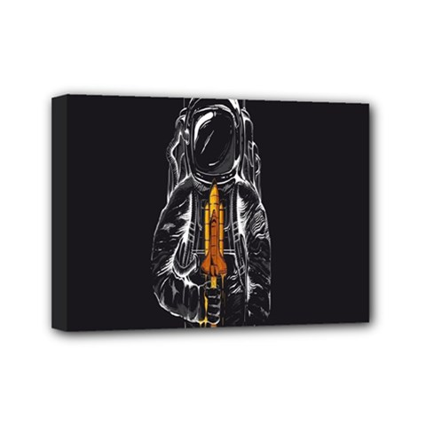 Humor Rocket Ice Cream Funny Astronauts Minimalistic Black Background Mini Canvas 7  x 5