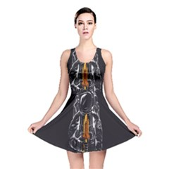 Humor Rocket Ice Cream Funny Astronauts Minimalistic Black Background Reversible Skater Dress