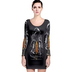 Humor Rocket Ice Cream Funny Astronauts Minimalistic Black Background Long Sleeve Bodycon Dress