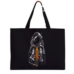 Humor Rocket Ice Cream Funny Astronauts Minimalistic Black Background Large Tote Bag