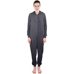 Leather Stitching Thread Perforation Perforated Leather Texture Hooded Jumpsuit (Ladies)