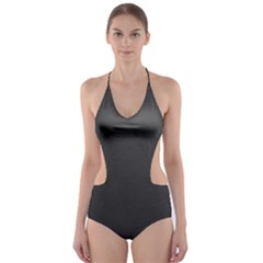Leather Stitching Thread Perforation Perforated Leather Texture Cut Out One Piece Swimsuit