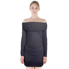 Leather Stitching Thread Perforation Perforated Leather Texture Long Sleeve Off Shoulder Dress