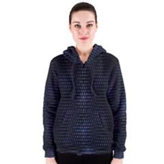 Hexagonal White Dark Mesh Women s Zipper Hoodie