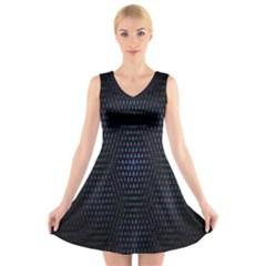 Hexagonal White Dark Mesh V Neck Sleeveless Skater Dress