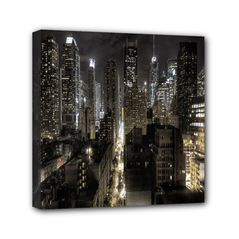 New York United States Of America Night Top View Mini Canvas 6  x 6