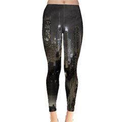 New York United States Of America Night Top View Leggings