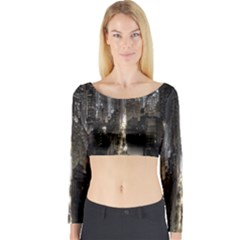 New York United States Of America Night Top View Long Sleeve Crop Top