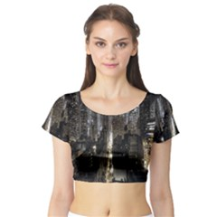 New York United States Of America Night Top View Short Sleeve Crop Top (Tight Fit)