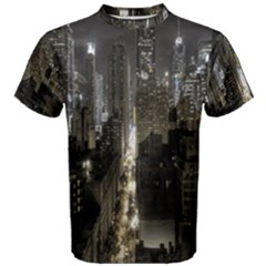 New York United States Of America Night Top View Men s Cotton Tee