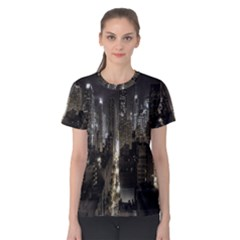 New York United States Of America Night Top View Women s Cotton Tee