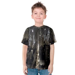 New York United States Of America Night Top View Kids  Cotton Tee
