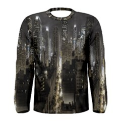 New York United States Of America Night Top View Men s Long Sleeve Tee
