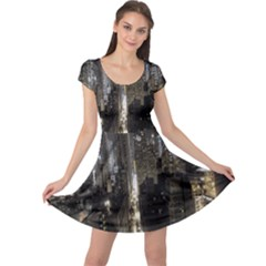 New York United States Of America Night Top View Cap Sleeve Dresses