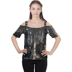 New York United States Of America Night Top View Women s Cutout Shoulder Tee