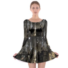 New York United States Of America Night Top View Long Sleeve Skater Dress
