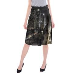 New York United States Of America Night Top View Midi Beach Skirt