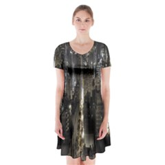 New York United States Of America Night Top View Short Sleeve V-neck Flare Dress