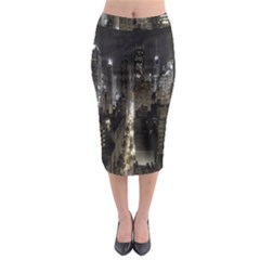 New York United States Of America Night Top View Midi Pencil Skirt