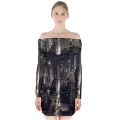New York United States Of America Night Top View Long Sleeve Off Shoulder Dress
