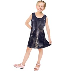 New York United States Of America Night Top View Kids  Tunic Dress