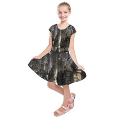 New York United States Of America Night Top View Kids  Short Sleeve Dress