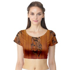 Pattern Shape Wood Background Texture Short Sleeve Crop Top (Tight Fit)