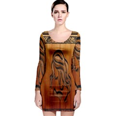 Pattern Shape Wood Background Texture Long Sleeve Bodycon Dress