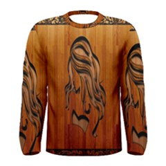 Pattern Shape Wood Background Texture Men s Long Sleeve Tee