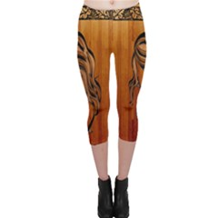 Pattern Shape Wood Background Texture Capri Leggings