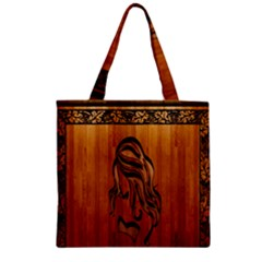 Pattern Shape Wood Background Texture Zipper Grocery Tote Bag