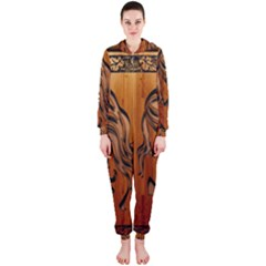 Pattern Shape Wood Background Texture Hooded Jumpsuit (Ladies)