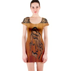 Pattern Shape Wood Background Texture Short Sleeve Bodycon Dress