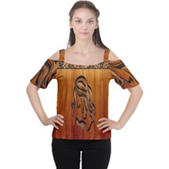Pattern Shape Wood Background Texture Women s Cutout Shoulder Tee