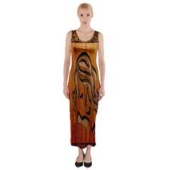 Pattern Shape Wood Background Texture Fitted Maxi Dress