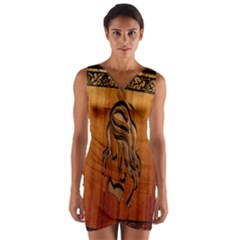Pattern Shape Wood Background Texture Wrap Front Bodycon Dress
