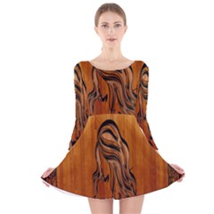 Pattern Shape Wood Background Texture Long Sleeve Velvet Skater Dress