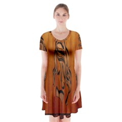 Pattern Shape Wood Background Texture Short Sleeve V Neck Flare Dress