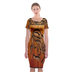 Pattern Shape Wood Background Texture Classic Short Sleeve Midi Dress