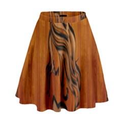 Pattern Shape Wood Background Texture High Waist Skirt