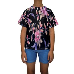 Neon Flowers Black Background Kids  Short Sleeve Swimwear