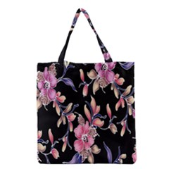 Neon Flowers Black Background Grocery Tote Bag